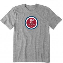 Life Is Good Short Sleeve Lite T-Shirt - Coin Logo in Grey