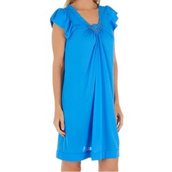 Mid-Length Nightgown V Lace Detail - Sapphire
