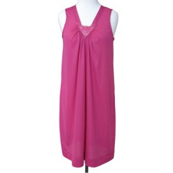 Mid-Length Sleeveless Nightgown V Lace Detail - Raspberry