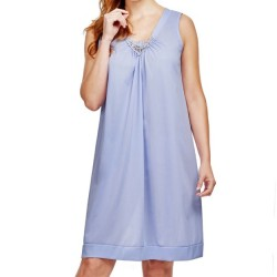 Mid-Length Sleeveless Nightgown V Lace Detail - Lilac