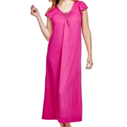 Full Length Nightgown V Lace Detail - Raspberry
