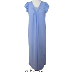 Full Length Nightgown V Lace Detail - Lilac