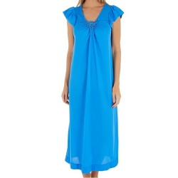 Full Length Nightgown V Lace Detail - Sapphire
