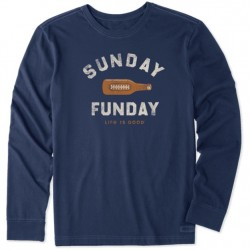 Life is Good Long Sleeve T-Shirt - Sunday Funday Footbeer in Navy