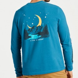 Life is Good Long Sleeve T-Shirt - Moon Mountain in Persian Blue