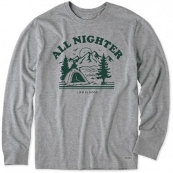 Life is Good Long Sleeve T-Shirt - All Nighter in Heather Grey
