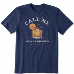 Life is Good Short Sleeve T-Shirt - Call Me Old Fashioned in Dark Blue