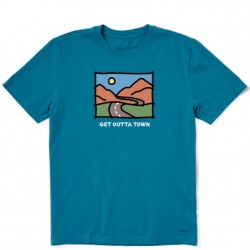 Life is Good Short Sleeve T-Shirt - Get Outta Town in Persian Blue