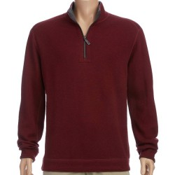 Tommy Bahama Half Zip Reversible Pullover - Blackcherry/Charcoal