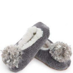 Chenille Cable Soft Slippers - Grey