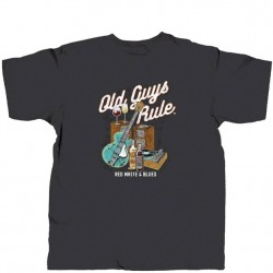 Old Guys Rule T-Shirt - Red, White & Blues in Black