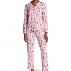 PJ Couture Long Sleeve Collared Pajama Set - Pink Cats