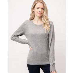 Long Sleeve Pullover Sweater - Heather Grey