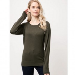 Long Sleeve Pullover Sweater - Olive