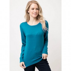 Long Sleeve Pullover Sweater - Teal