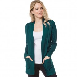 Open Front Cardigan with Ribbed Trim - Teal