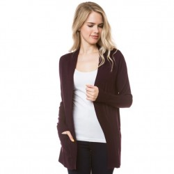 Open Front Cardigan with Ribbed Trim - Dark Purple