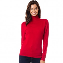 Classic Turtleneck Sweater - Red