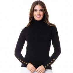 Mock T Sweater with Gold Button Detail - Black