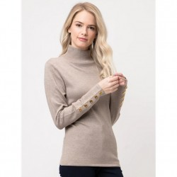 Mock T Sweater with Gold Button Detail - Camel