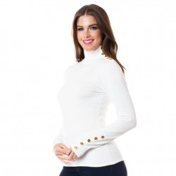 Mock T Sweater with Gold Button Detail - Ivory