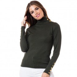 Mock T Sweater with Gold Button Detail - Olive