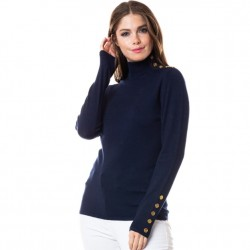 Mock T Sweater with Gold Button Detail - Navy