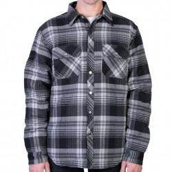 Flannel Jacket with Nylon Quilt Lining - Black/Grey Plaid