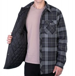 Flannel Jacket with Nylon Quilt Lining - Grey/Blue Plaid