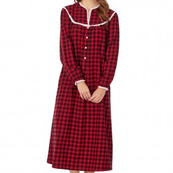 Lanz of Salzburg Flannel Long Nightgown - Red/Black Check