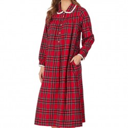 Lanz of Salzburg Flannel Long Nightgown - Red Plaid
