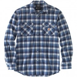 Carhartt Snap Front Flannel Shirt With Stretch - Navy Plaid