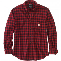 Carhartt Flannel Shirt With Stretch - Oxblood Check