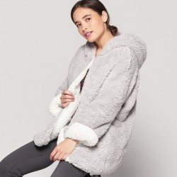 Reversible Teddy Lounge Jacket With Hood - Silver/Cream