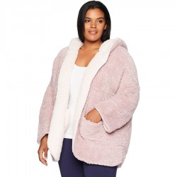 Reversible Teddy Lounge Jacket With Hood - Rose/Pink