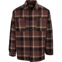 North River Flannel Jacket with Micro Fleece Lining - Puce Brown Plaid