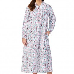 Lanz of Salzburg Flannel Long Nightgown - White Floral