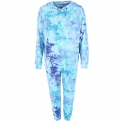 PJ Couture Hooded Top and Jogger Lounge Set - Aqua Tie Dye