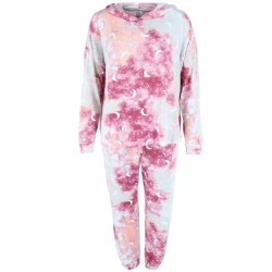 PJ Couture Hooded Top and Jogger Lounge Set - Wine Tie Dye