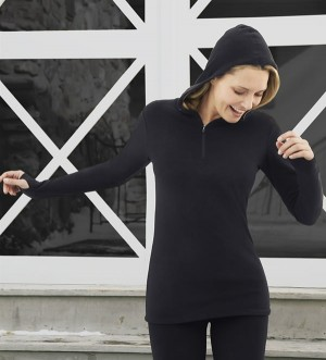 Cuddl Duds Fleecewear with Stretch Half-Zip Hoodie Style #CD8312065 - BLACK
