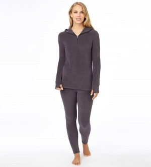 Cuddl Duds Fleecewear with Stretch Half-Zip Hoodie Style #CD8312065 - SHADOW