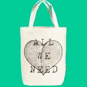 "Life is Good ""All We Need Heart"" Canvas Tote"