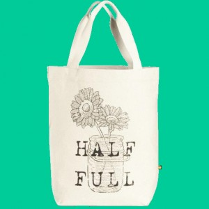 "Life is Good ""Half Full Daisy Jar"" Canvas Tote"