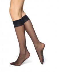 Hue Silky Sheer Knee Hi Trouser Socks - 2 Pack #12222 - Black