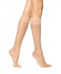 Hue Silky Sheer Knee Hi Trouser Socks - 2 Pack #12222 - Natural