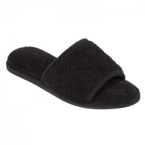 Dearfoams Microfiber Terry Slide Slippers with Quilt Vamp Style #60105 - Black