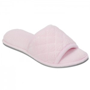 Dearfoams Microfiber Terry Slide Slippers with Quilt Vamp Style #60105 - Fresh Pink