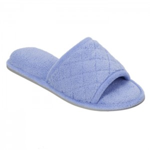 Dearfoams Microfiber Terry Slide Slippers with Quilt Vamp Style #60105 - Iceberg