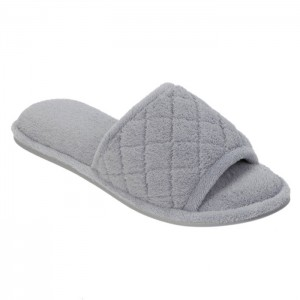 Dearfoams Microfiber Terry Slide Slippers with Quilt Vamp Style #60105 - Medium Grey