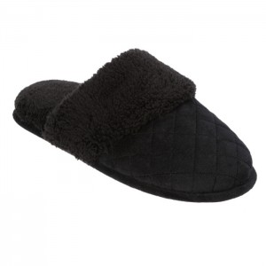 Dearfoams Quilted Velour Scuff Slippers with Wide Cuff Style #60107 - Black